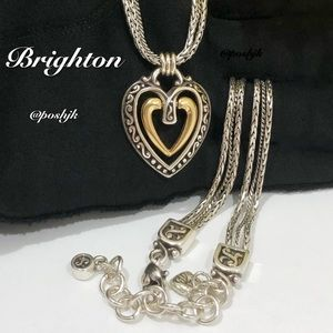 Brighton Necklace Two Tone Open Heart Silver Gold